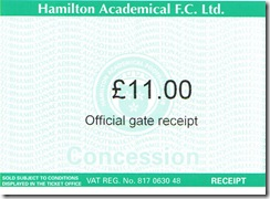 Accies vs Hearts ticket