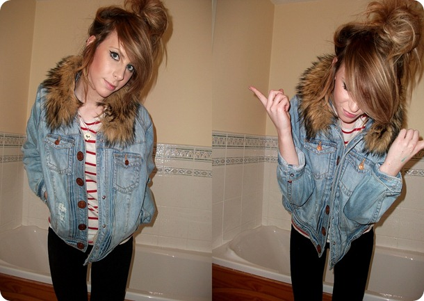 RIVER ISLAND denim faux fur jacket  6