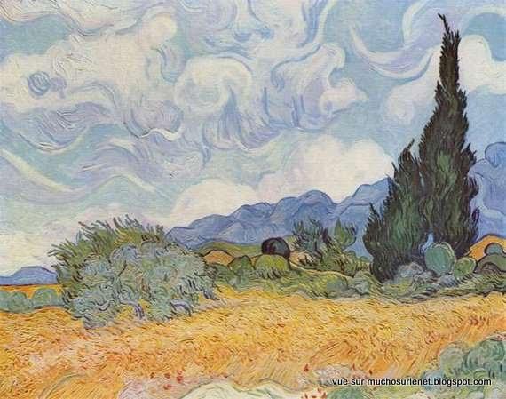 Un champ de blé avec cyprès par Vincent van Gogh