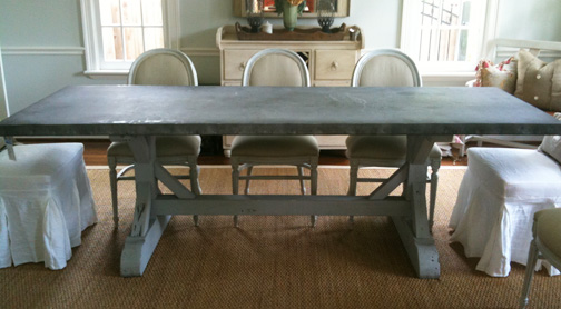 LLH DESIGNS BRAVEHEARTED BEAUTY Zinc Top Dining Table - Zinc top dining table