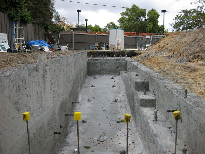 The Pool Looks Deeper Than It Is Because Lot Slopes Up To Left And Hand Side Of A Retaining Wall Raised Bond Beam