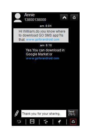 Go SMS Theme - Simple Black