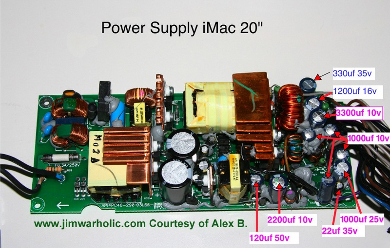 Apple imac g5 power supply issues and diy apple repairs capacitor list and diameter sizes for power supply apple imac 20 inch asfbconference2016 Images