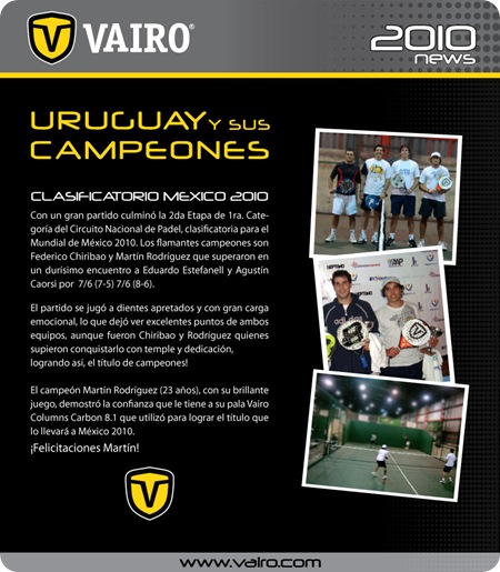 Clasficatorio URUGUAY MEXICO PADEL 2010