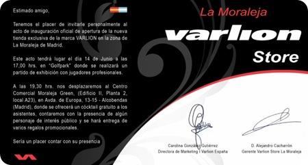 Invitación VARLION STORE LA MORALEJA Centro Comercial GREEN 2010