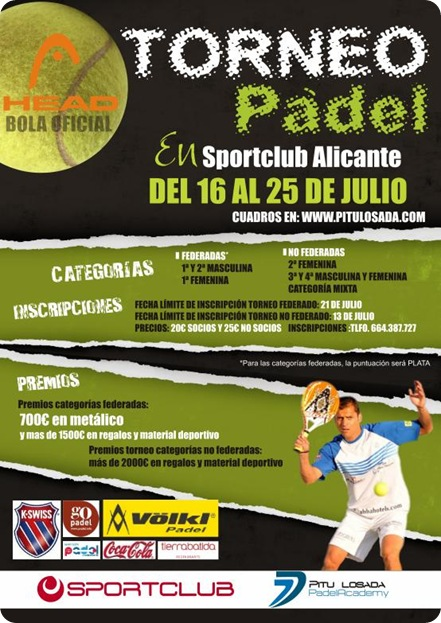 Torneo Padel Sport Club Alicante Julio 2010