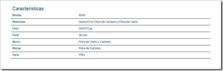Caracteristicas ENEBE MODELO XTRIM 5.1 PALA