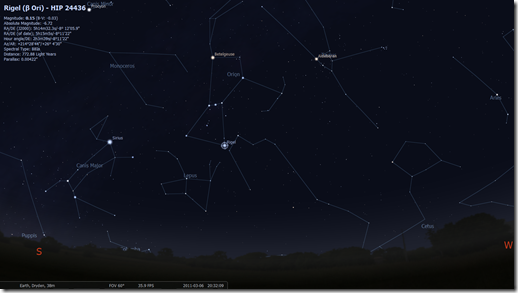 Orion the Hunter (Image by Stellarium http://www.stellarium.org/)