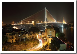 A night view of the Bai Chay bridge in Halong city.