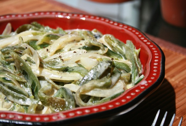 Poblano strips in cream Rajas recipe