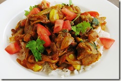 Served Meat with spices with basmati rice