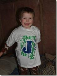 alphabet shirt modelled