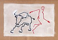 La Suerte en Curva - Pamplona 2008 - acrilico su cartone - 23x32 cm