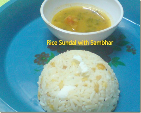 Rice sundal with Sambhar