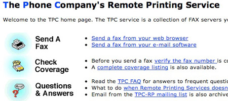 TPC Fax (The Phone Company's Remote Printing Service) - remote printing software