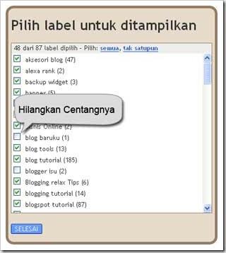 pilih label