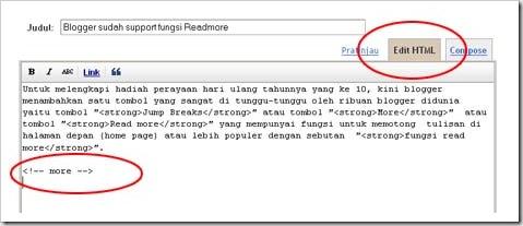 readmore versi baru/></a></div><br /> Untuk anda yang memakai template asli yang disediakan blogger akan langsung bisa menikmati fasilitas ini dan hasilnya akan muncul tulisan <span style=