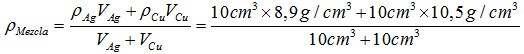 ejemplo densidad mezcla