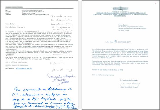 Correspondência com o Juiz de Instrução Criminal do Baixo Vouga