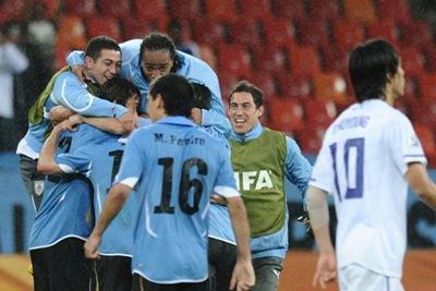 Uruguay celebra su pase a cuartos de final