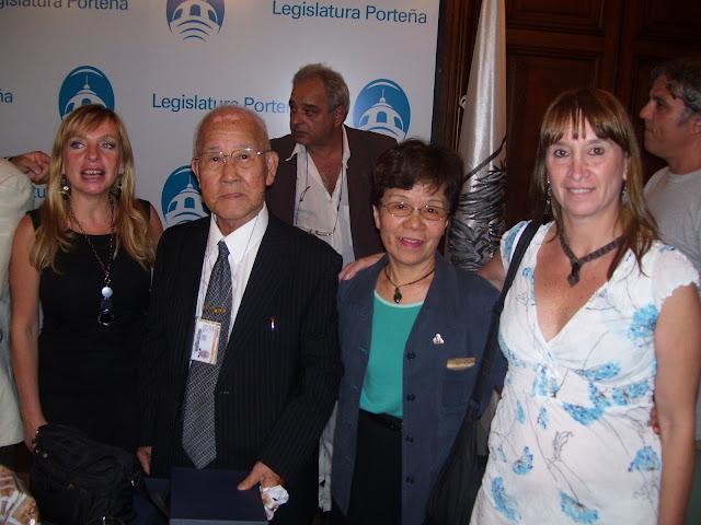 María José Lubertino (Encuentro Popular para la Victoria), Morita Takachi y Junko Watanabe (Sobrevivientes del bombardedo), Marcela Venturino (Miembro de la R.N.V.@)