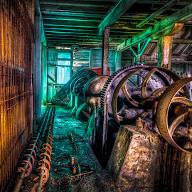 Old Cogs in Green Light by Daryl James - Buildings & Architecture Decaying & Abandoned ( machinery, hdr )