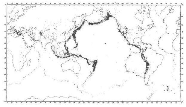 Mapa de sismicidad mundial
