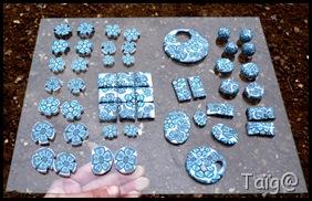 Perles issues des canes fleurs bleues avant cuisson - Mars 2010