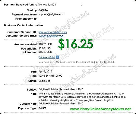 Adgitize Payment Proof - $16.25 on April 8, 2010