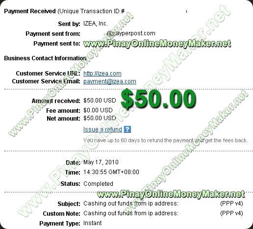 PayPerPost Payment Proof 05.17.2010