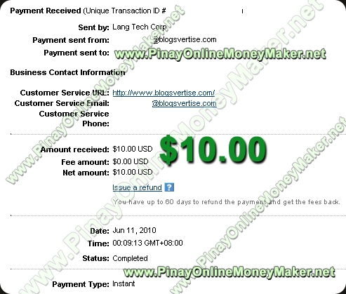 Blogsvertise Payment Proof 2010 June 11th