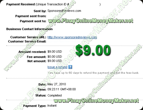 Sponsored Reviews Payment Proof - 5.27.2010
