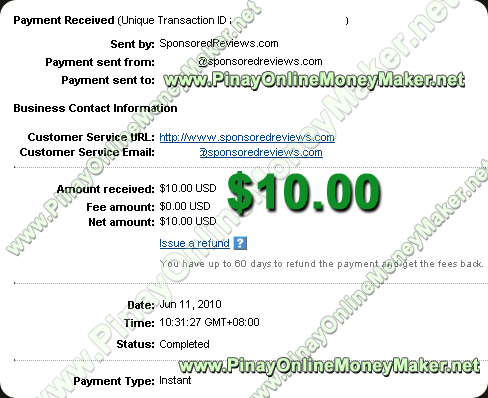 Sponsored Reviews Payment Proof - 2010 June 11