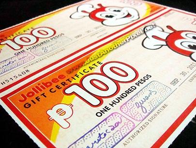 Jollibee Gift Certificates - JustAnotherPixel