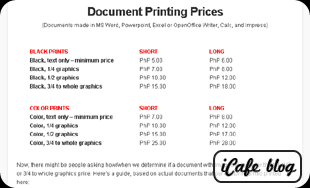 iCafe Blog Printing Prices