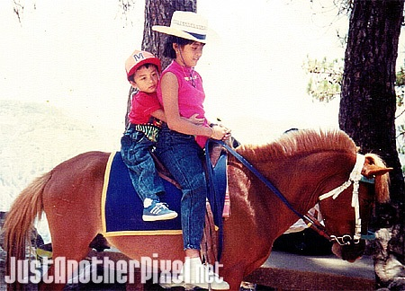 My baby bro and I riding a horse in Baguio - JustAnotherPixel.net