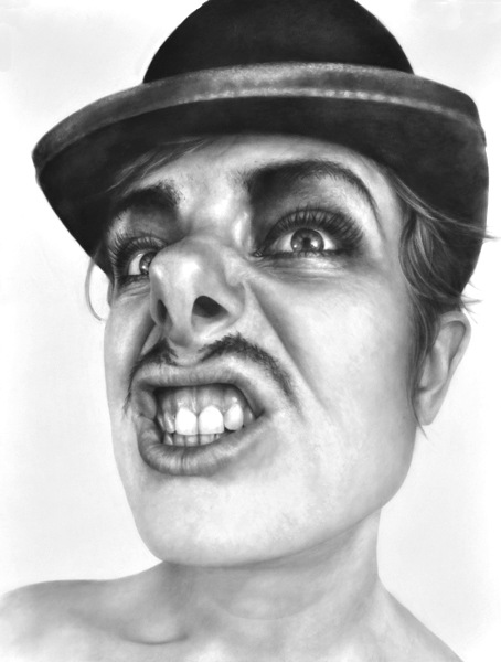 Melissa Cooke Drawing Graphite Self Portrait with Mustache Bowler Hat Arthur C
