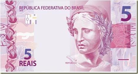 Nova cedula de 5 reais