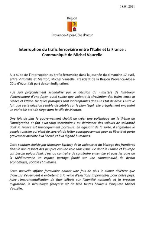 comunicat Michel Vauzelle Arrêt Ferroviaire de Menton 180411