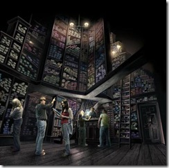 OLLIVANDERS – Ollivanders wand shop is an incredible interactive experience where the wand chooses the wizard.Early conceptual rendering of Ollivanders, located in Hogsmeade.