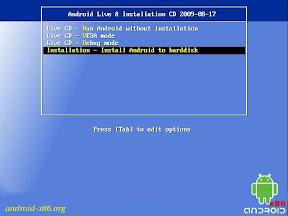Android 4.0 live CD - štart/inštalácia