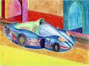 ماشين مسابقه اي اتومبيل سريع السير نقاشي و طراحي با خودکار و مداد رنگي از سيد امين نبي پور