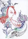 far and away دور دست ها  seyyed amin nabipoor اثر سید امین نبی پور  طرح خودکاری طراحی رنگی با خودکار در چند رنگ