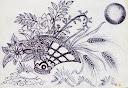 نقش و نقوش تزئيني طراحي با خودکار سبد گل نقاشي از سيد امين نبي پور  flora  flower basket painting by seyyed amin nabipoor