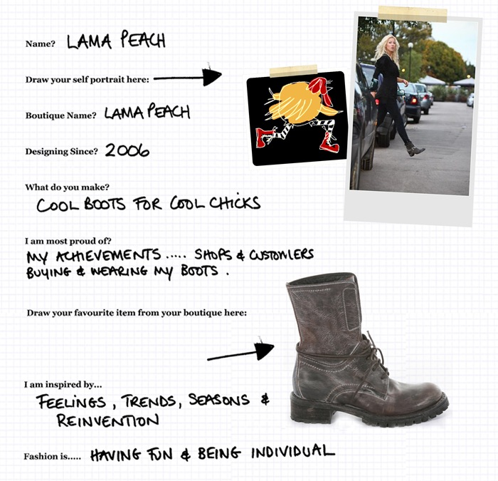 Boot designer Lama Peach Finns out our 'Cheat Sheet' .