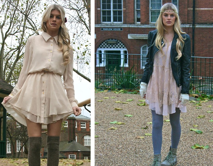 Two outfits from the 'never fully dresse' collection