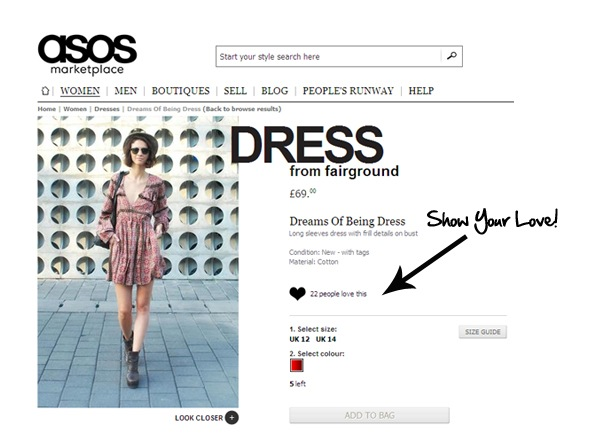 'Loving' items sends them to the top of  product lists - nice!