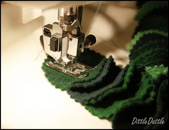 Sewing a Christmas tree pillow