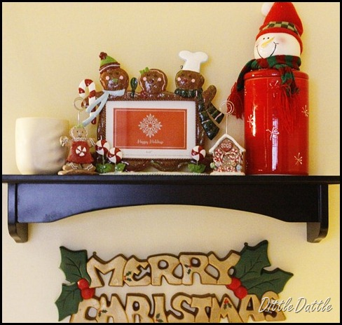 Christmas holiday kitchen shelf