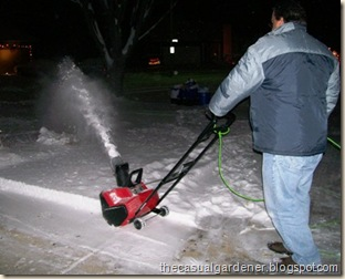 Snowblow Man - my husband using our electric snowblower